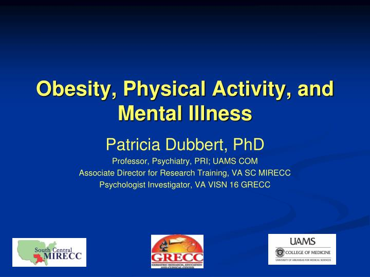 obesity physical activity and mental illness