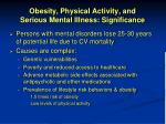 obesity physical activity and serious mental illness significance