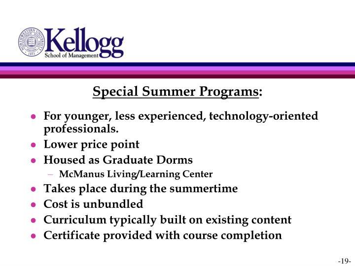 Special Summer Programs
