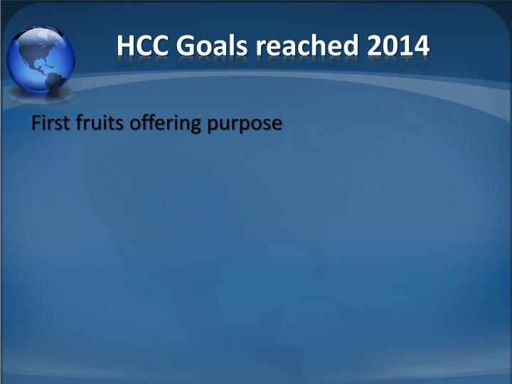 HCC Goals reached 2014