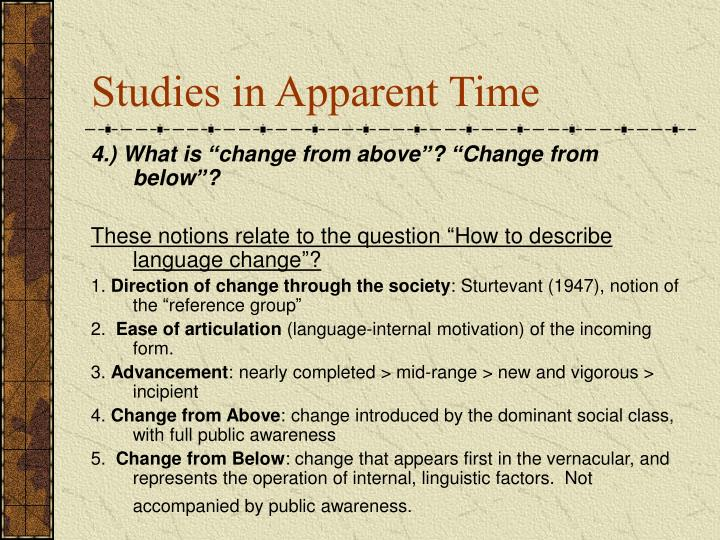 Studies in Apparent Time