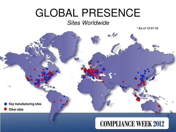 Global presence sites worldwide