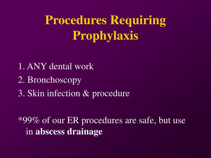 Procedures Requiring Prophylaxis