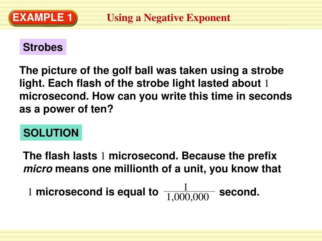 Using A Negative Exponent