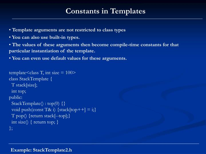 Constants in Templates