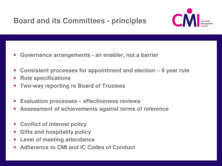 Board and its Committees - principles