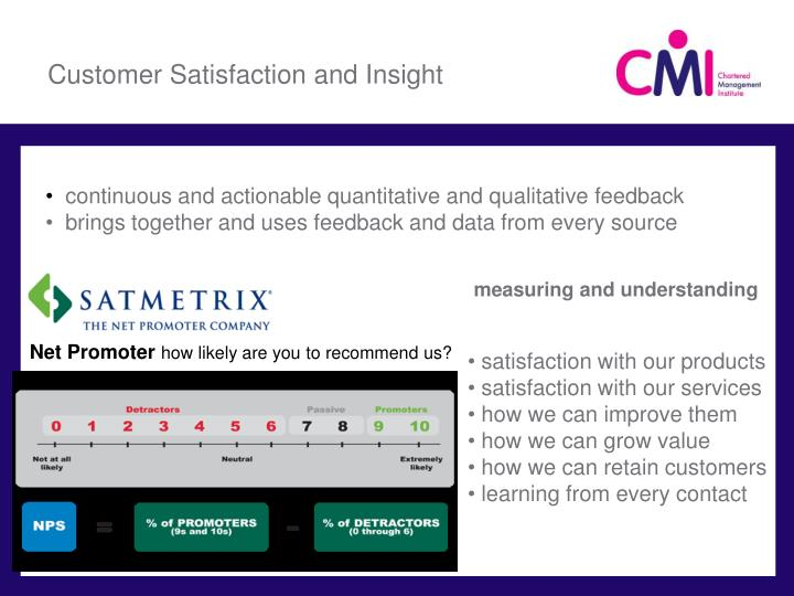 Customer Satisfaction and Insight