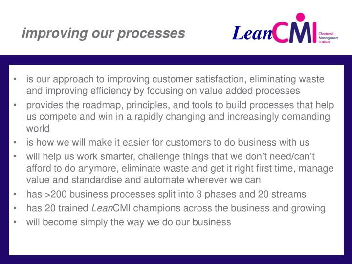 improving our processes