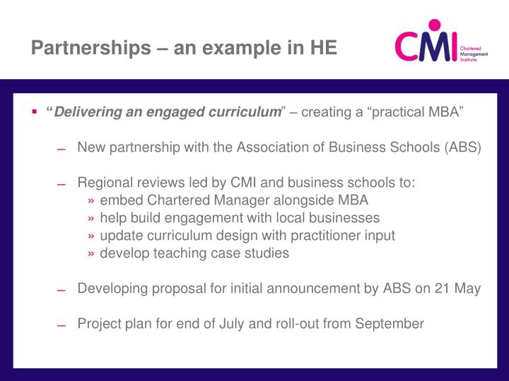 Partnerships – an example in HE