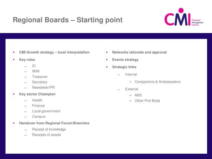 Regional Boards – Starting point