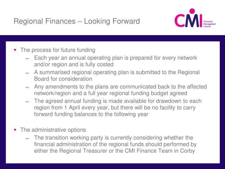 Regional Finances – Looking Forward