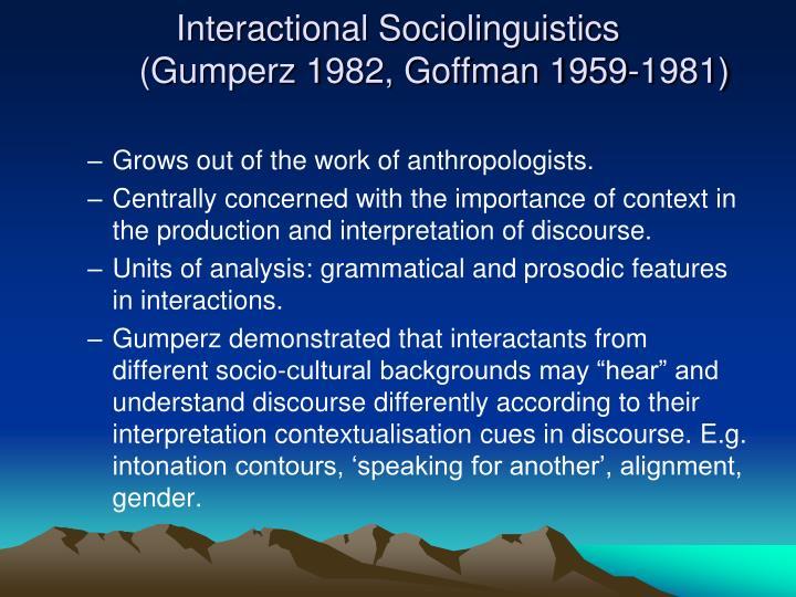 Interactional Sociolinguistics
