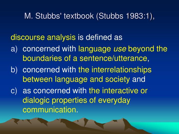 M stubbs textbook stubbs 1983 1