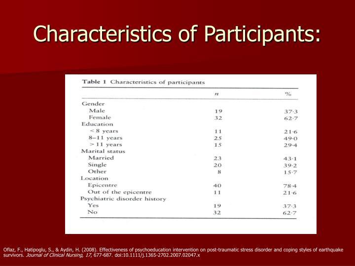 Characteristics of Participants: