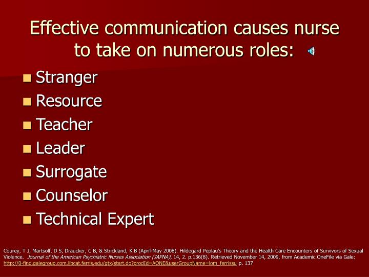 Effective communication causes nurse to take on numerous roles: