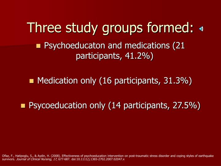 Three study groups formed: