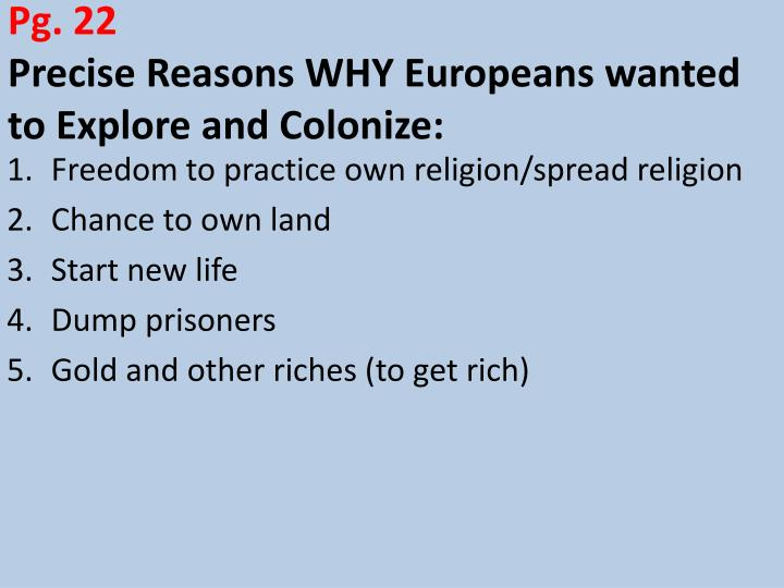 economic and religious reasons for exploration and colonization
