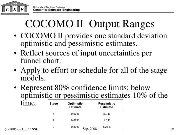 COCOMO II  Output Ranges
