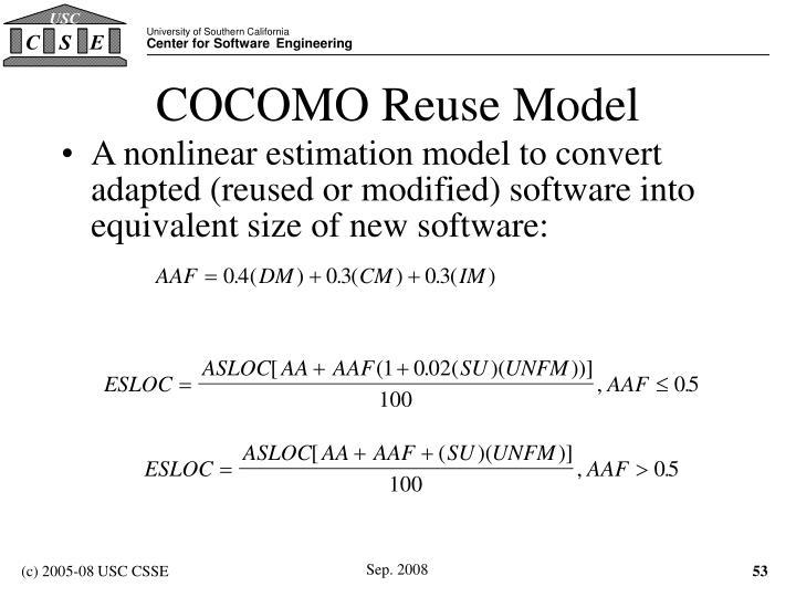 COCOMO Reuse Model