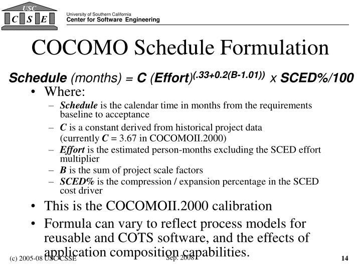 COCOMO Schedule Formulation