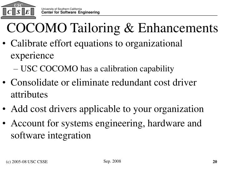 COCOMO Tailoring & Enhancements