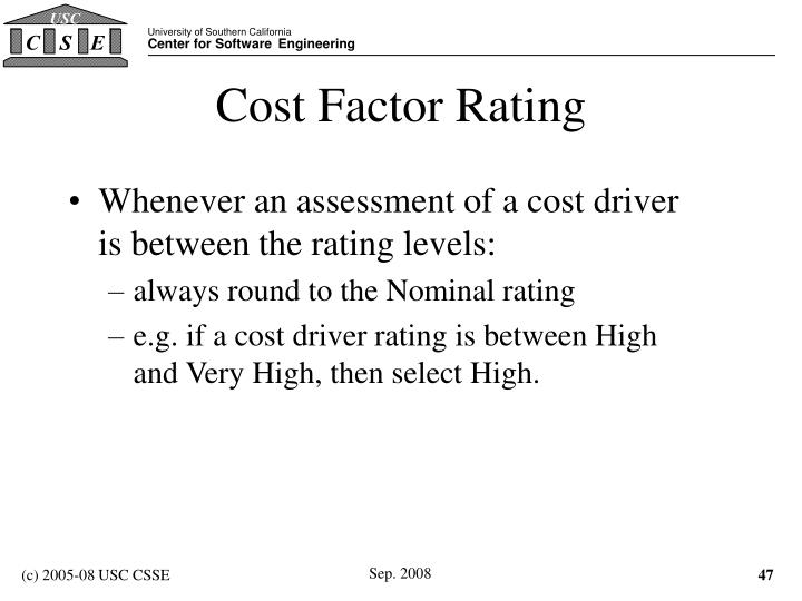Cost Factor Rating
