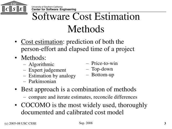 Software cost estimation methods