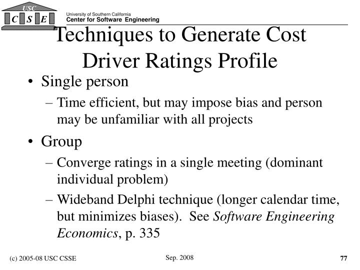 Techniques to Generate Cost Driver Ratings Profile