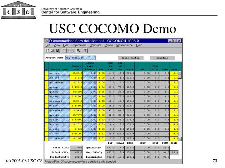USC COCOMO Demo