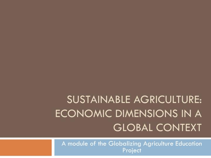 sustainable agriculture economic dimensions in a global context n.