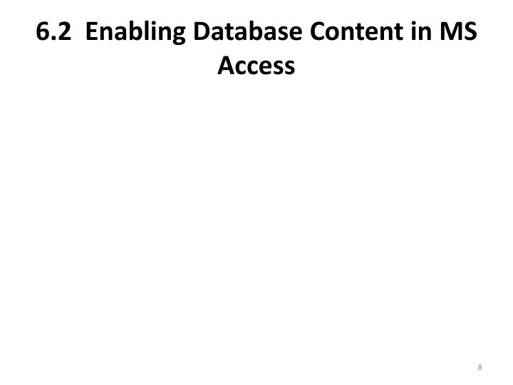 6.2  Enabling Database Content in MS Access