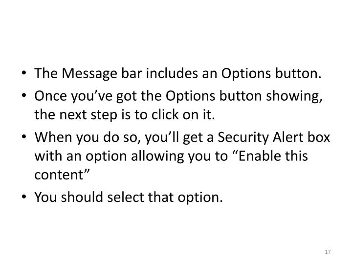 The Message bar includes an Options button.