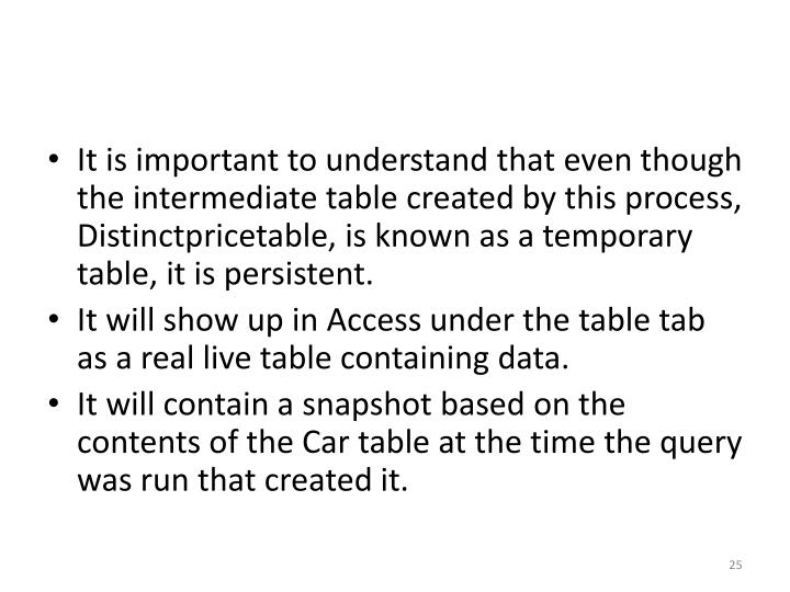 It is important to understand that even though the intermediate table created by this process,