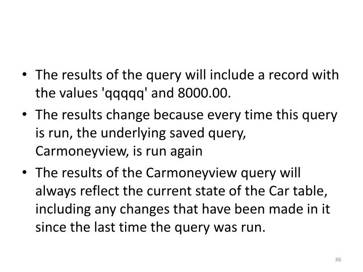The results of the query will include a record with the values '