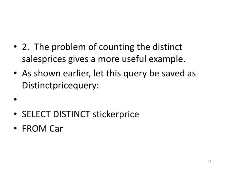 2.  The problem of counting the distinct