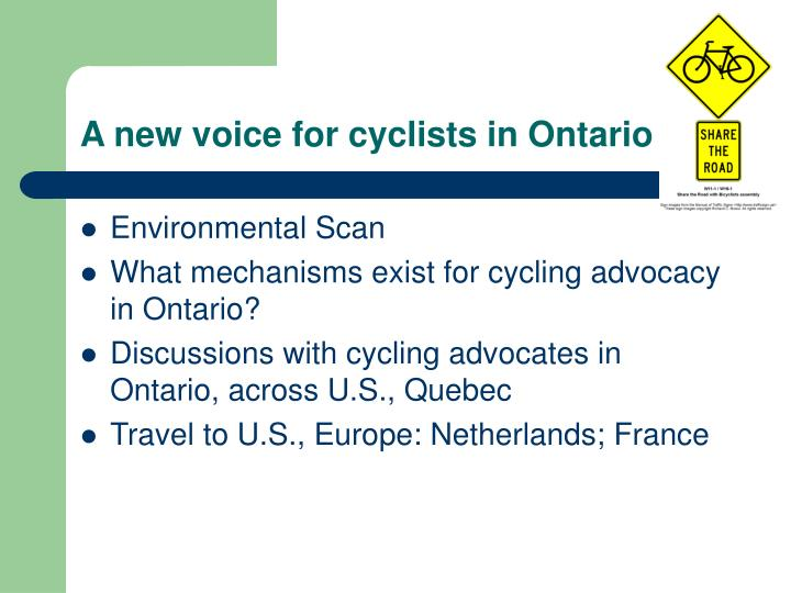 A new voice for cyclists in Ontario