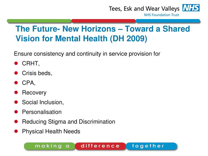 The Future- New Horizons – Toward a Shared Vision for Mental Health (DH 2009)