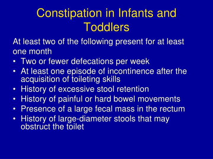 Constipation in Infants and Toddlers