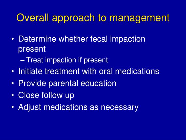 Overall approach to management