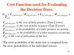cost function used for evaluating the decision trees