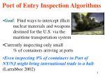 port of entry inspection algorithms