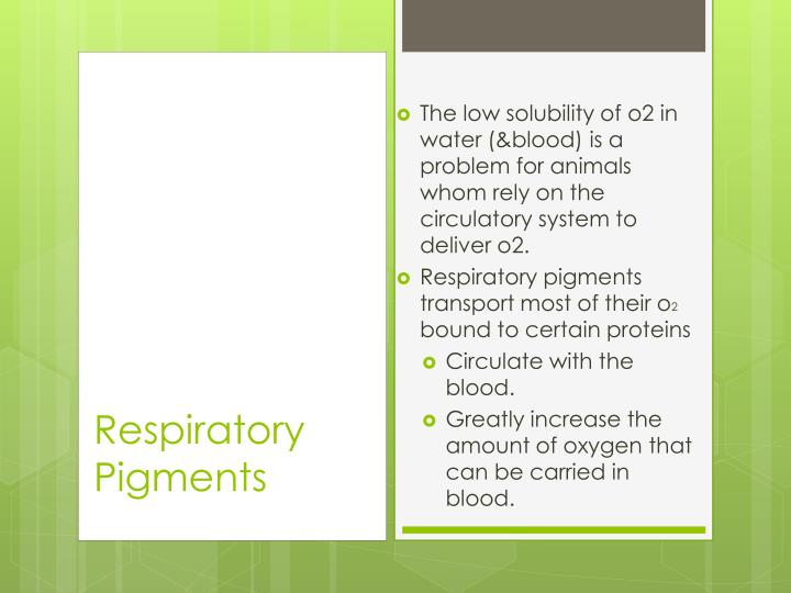 The low solubility of o2 in water (&blood) is a problem for animals whom rely on the circulatory system to deliver o2.