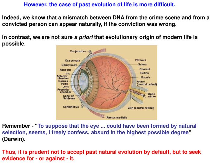 However, the case of past evolution of life is more difficult.