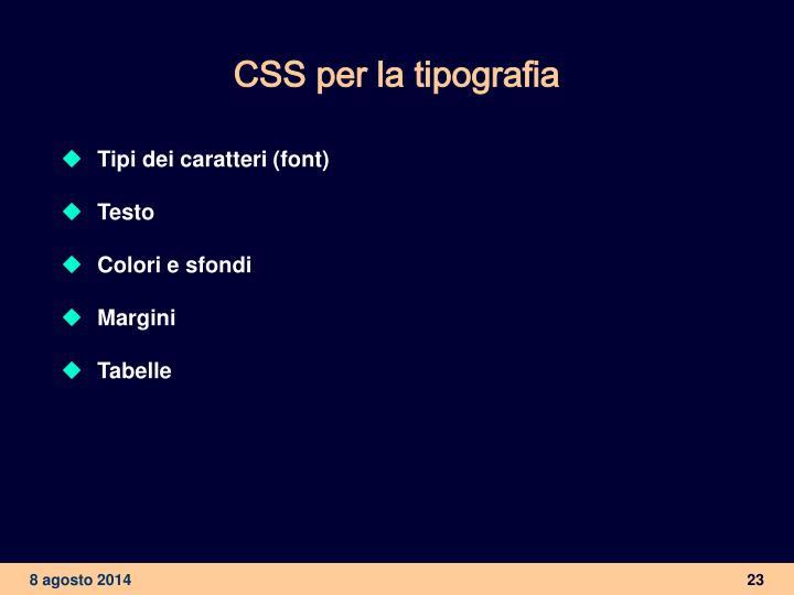 CSS per la tipografia