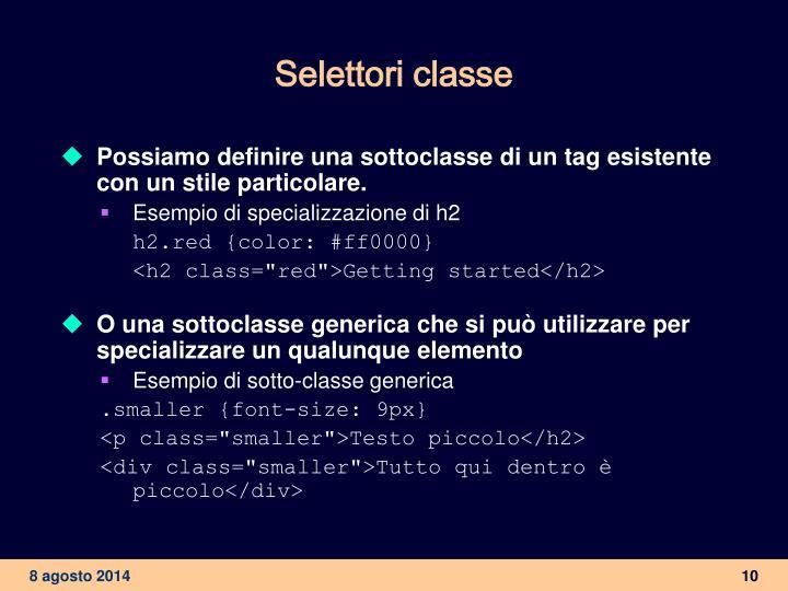 Selettori classe