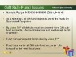 gift sub fund issues