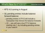 what s new for fy2012