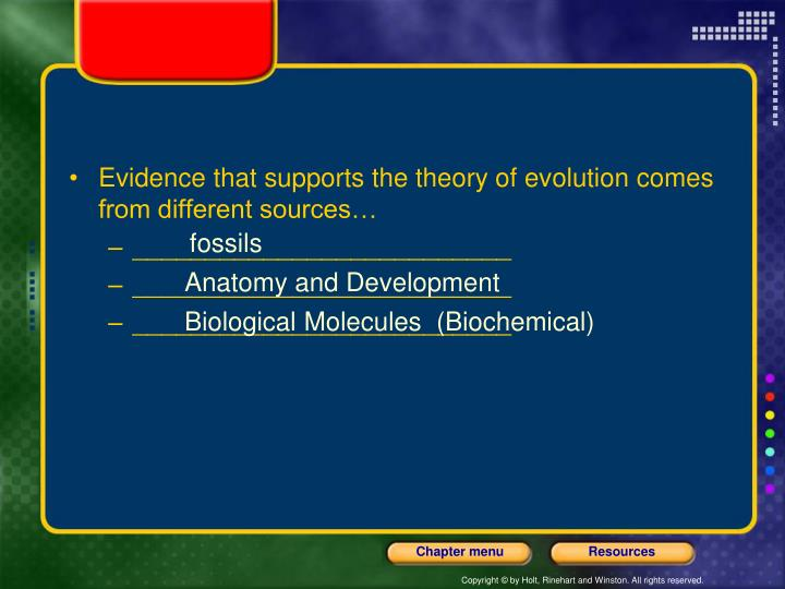 Evidence that supports the theory of evolution comes from different sources…