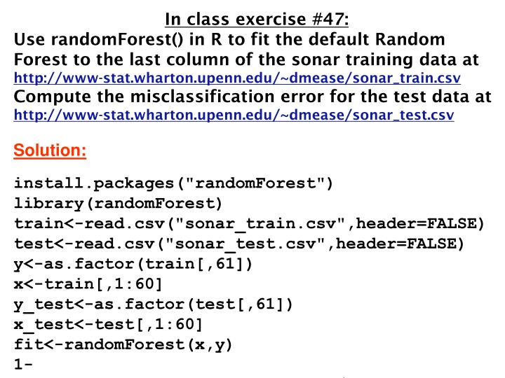In class exercise #47: