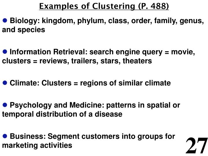 Examples of Clustering (P. 488)